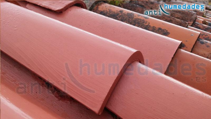 Teja tratada con impermeabilizante coloreado especial para tejados. Tejado como nuevo sin retejar.